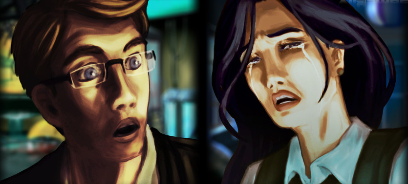 Dos cuadros. Un hombre rubio sorprendido y una mujer morena llorando.
