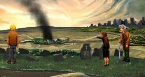 Un hombre, una mujer y un anciano, contemplan desde una colina cómo un complejo desprende humo.