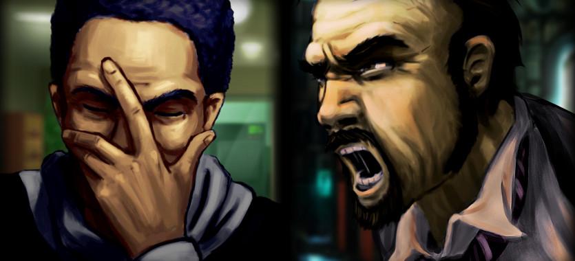 Dos cuadros. Un hombre con la cabeza tapada y otro gritando.