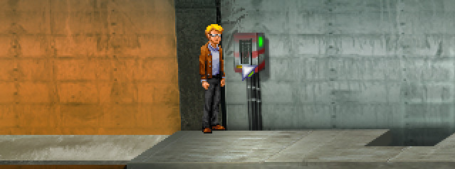 El protagonista está ante un dispositivo que tiene una palanca.