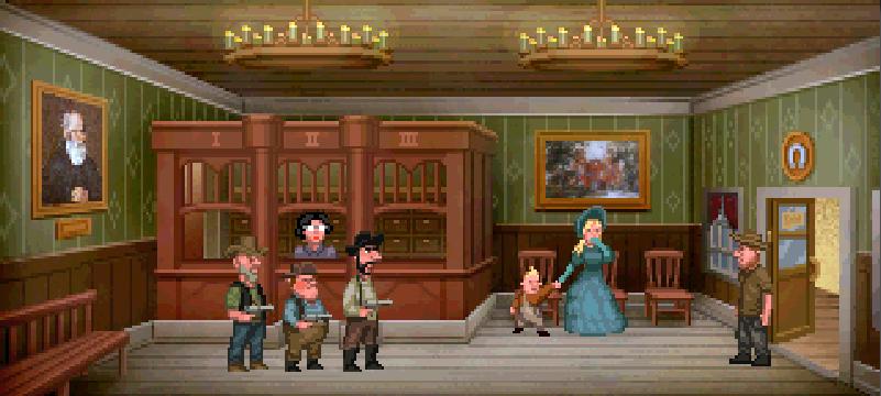 Unos bandoleros encañonan a Fester en el interior de un banco.