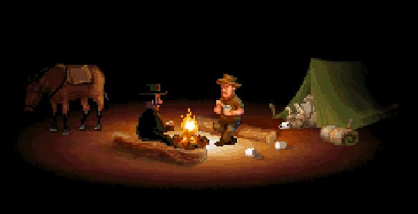 Fester comparte una hoguera con un hombre de bigote, mientras, Martha duerme boca arriba dentro de una tienda de campaña.