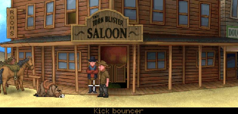 Fester está en el exterior del saloon mientras junto a él duerme su mula.
