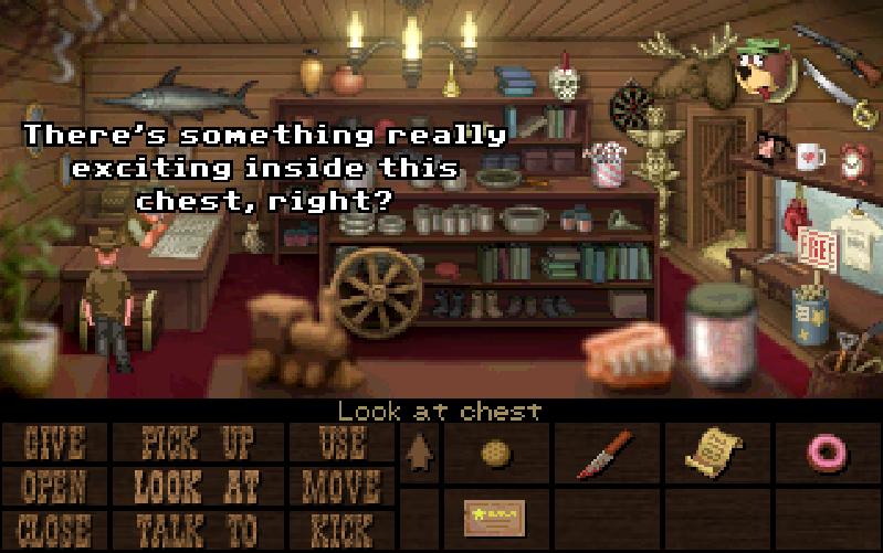 Fester habla con el dependiente de una tienda.