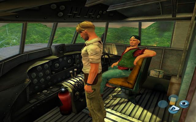 George y otro personaje en la cabina de un avión.