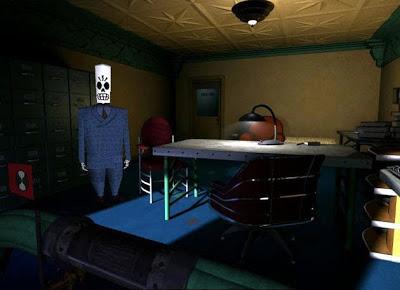 Manny Calavera en su despacho al comienzo de la aventura.