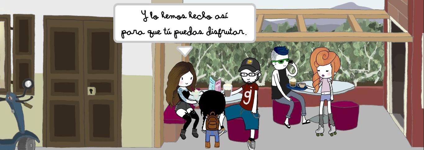 Una chica, Mariona, y un chico, Javi, creadores de la aventura, hablan con Nika sobre el juego y el mundo de ficción.