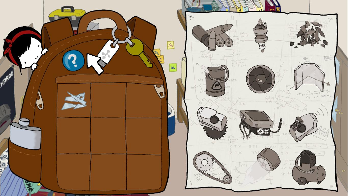 La mochila de Nika, que hace las veces de inventario, está situada al lado de la lista de componentes necesarias para construir el mecha.