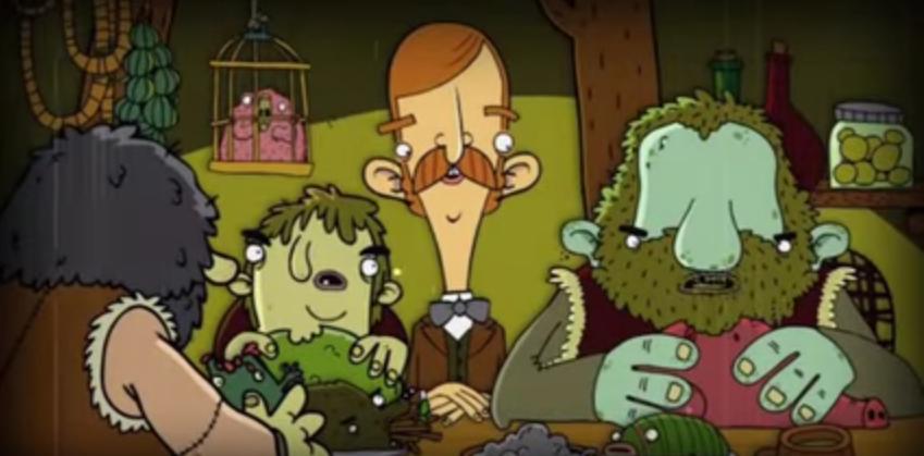 Bertram está sentado a la mesa junto a unos hombres verdes que están comiendo a unos grotescos animales.