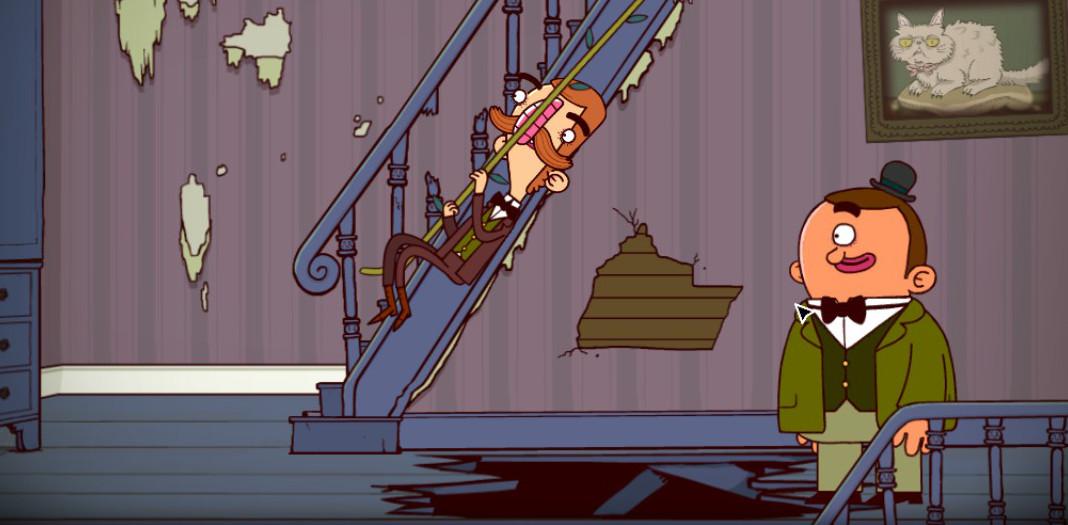 Gavin ayuda a superar un obstáculo a Bertram Fiddle.