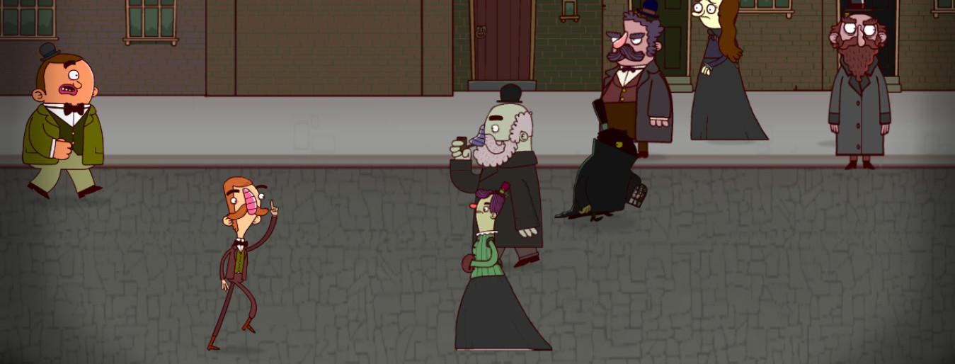 Gavin y Bertram persiguen entre el gentío a un hombre que lleva el rostro cubierto.