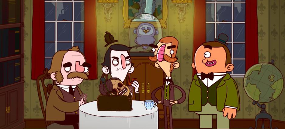 Sherlock y Watson están sentados en una mesa, sobre la que reposa un maletín con una cabeza cercenada y desprovista de rasgos. Bertram y Gavin se mantienen de pie.