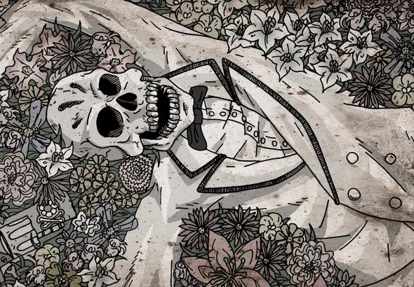 Un esqueleto, vestido con traje blanco y pajarita negra, yace en un campo de flores al lado de un revólver.