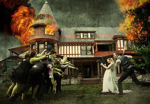 Una mujer —con una metralleta— y un hombre —con un bate de béisbol— recién casados, todavía con los atuendos nupciales, se enfrentan a una horda de zombis.
