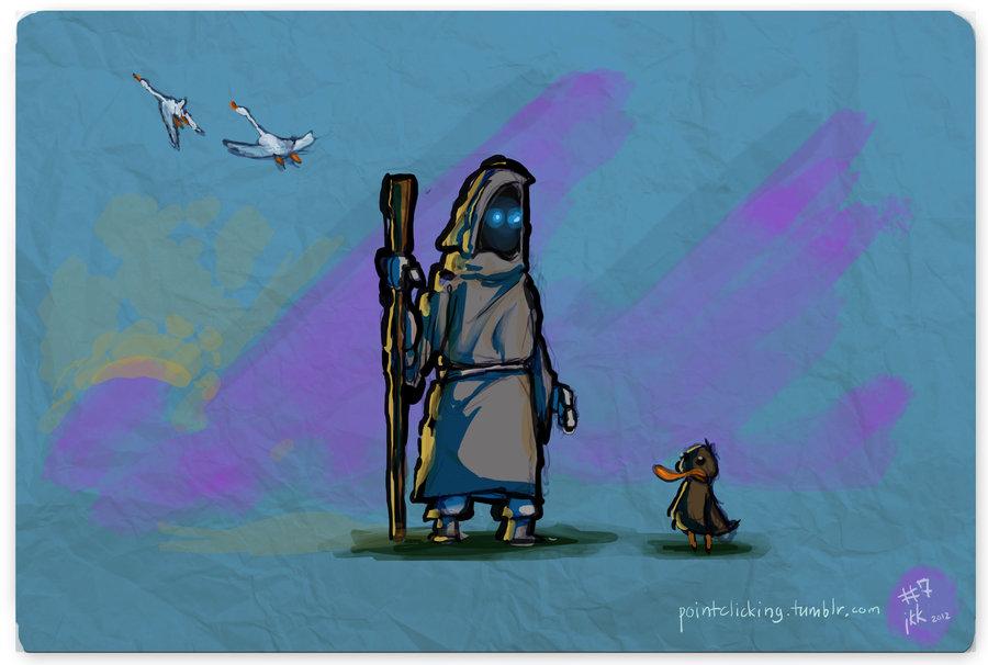 Dibujo de Bobbin frente a Hetchel transformada en polluelo. Al fondo, vuelan unos cisnes.