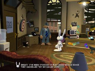 Un perro y un conejo antropomórficos de pie en un despacho.