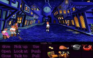 Guybrush Threepwood ante tres piratas de baja moral y una rata