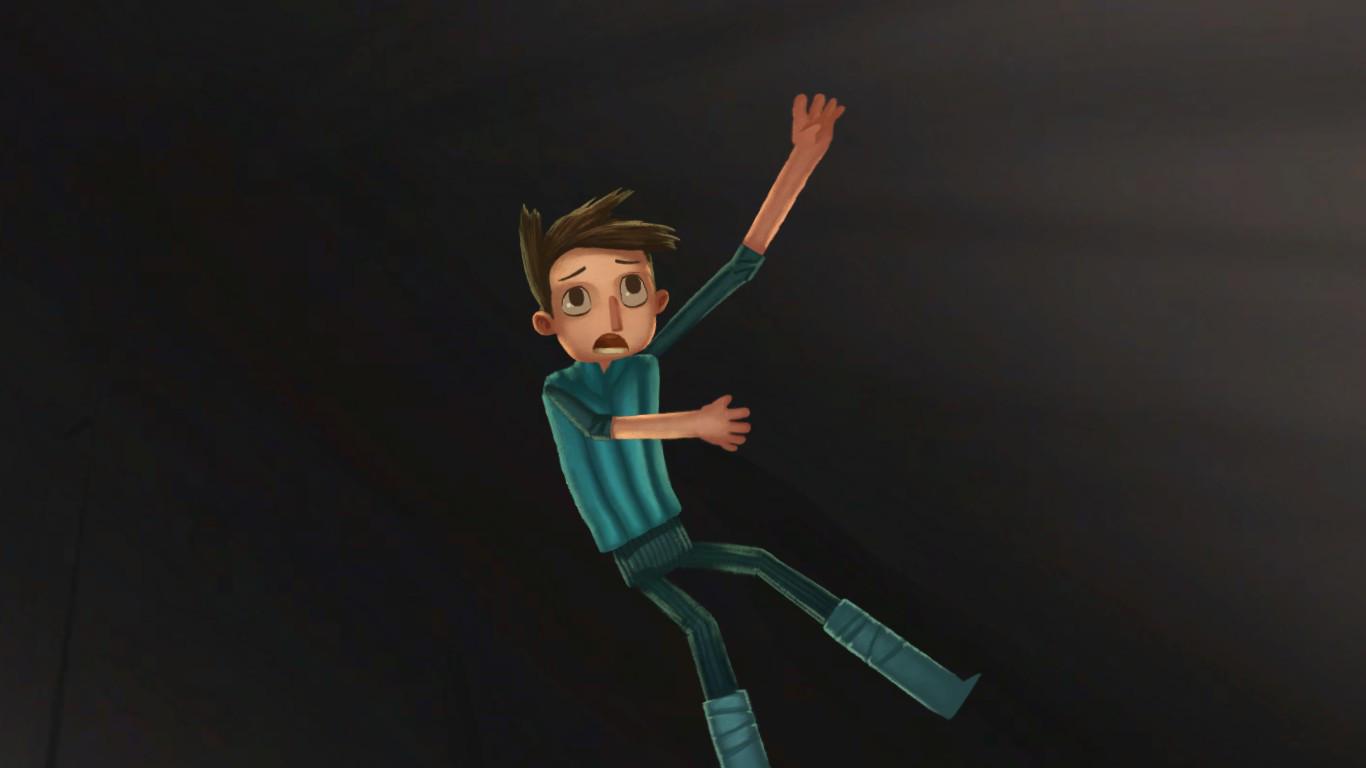 Shay, un chaval vestido de azul, cae al vacío.