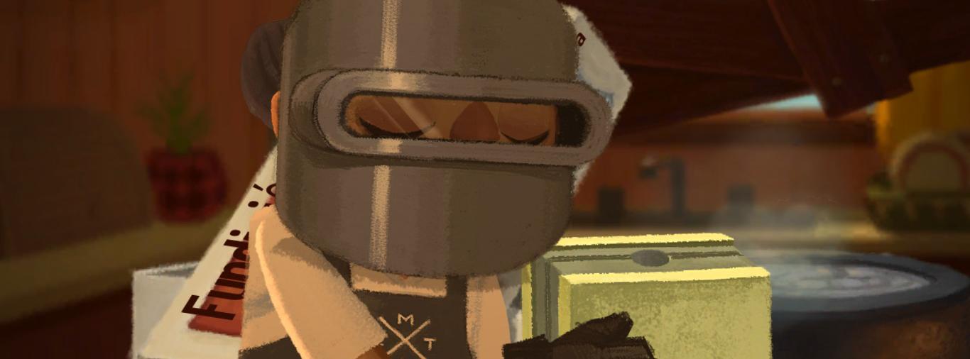 Un hombre, con un casco y unos guantes de seguridad, sostiene un molde.