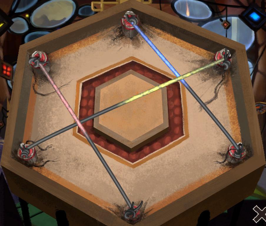 Interior de un robot hexagonal con seis bornes y tres cables de colores uniéndolos.