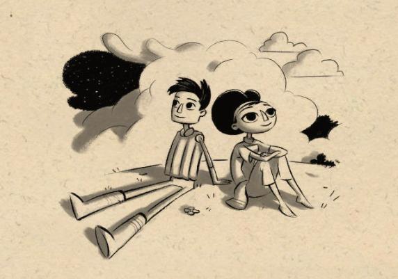 Shay y Vella en un dibujo de Double Fine sentados espalda con espalda mientras observan el firmamento.