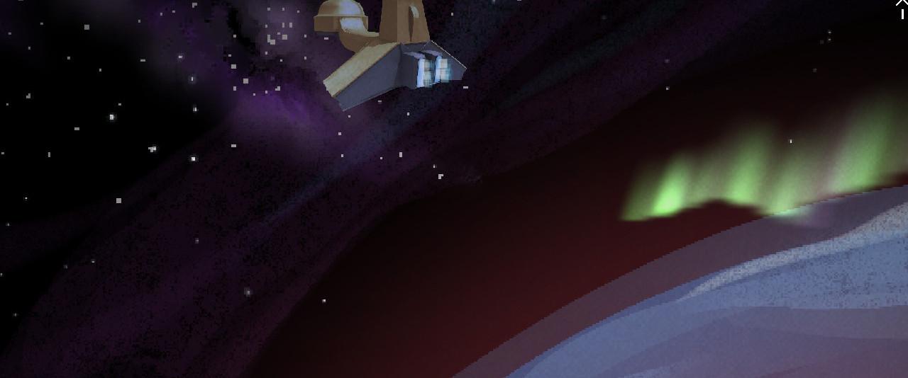 La nave con la Tierra durante una aurora boreal al fondo.