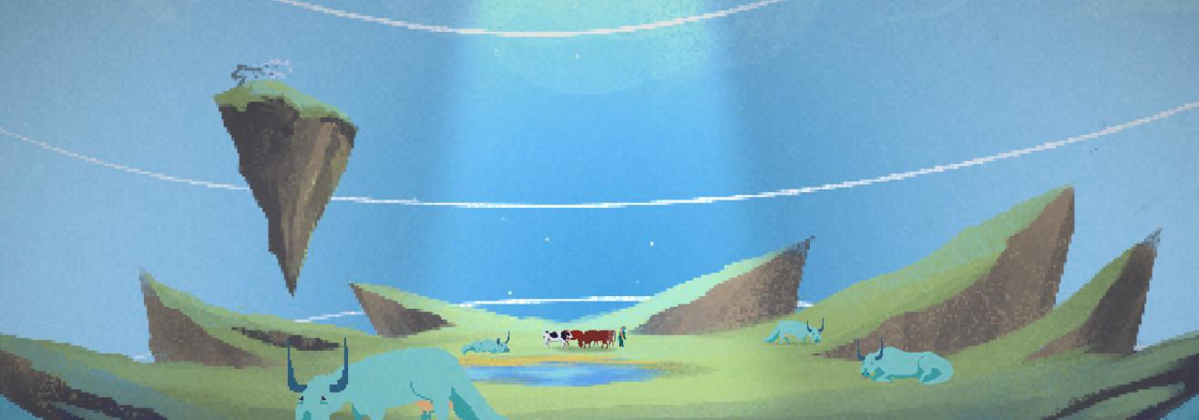 Unos herbívoros verdes y las vacas de Ruth pastan en un extraño lugar. Una parte del suelo se ha desprendido y flota ingrávida.