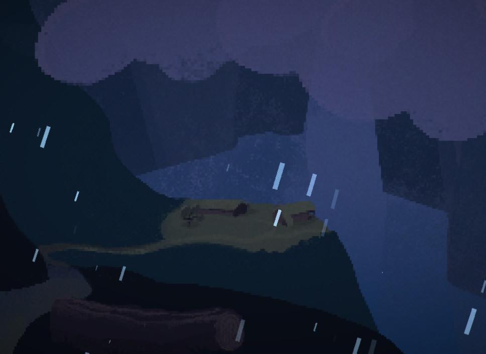 Lluvia nocturna sobre una casita apartada.