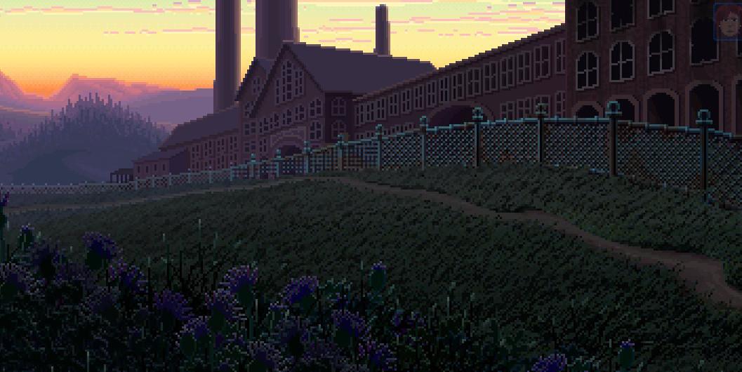 Una fábrica abandonada bajo una luz crepuscular.