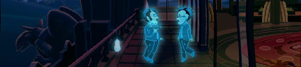 Dos espectros están uno enfrente de otro en el ático de un hotel.