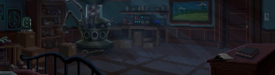Una habitación bajo la luz de la luna con unos documentos sobre un escritorio.