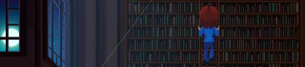 La agente Ray asciende en una escalera apoyada en una inmensa librería. A su izquierda, la luna, tras una ventana.
