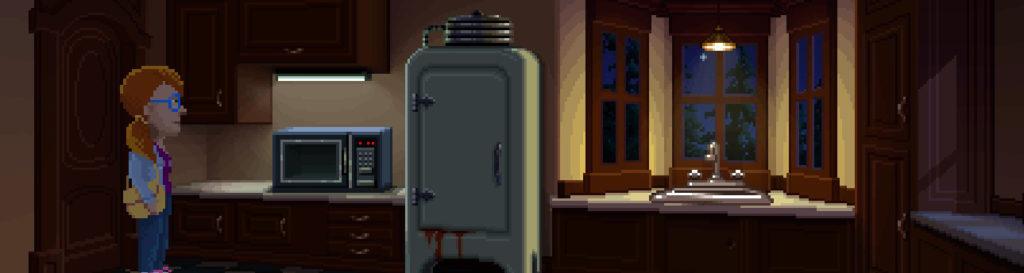 Una cocina con un aspecto similar al de la cocina de la aventura Maniac Mansion.