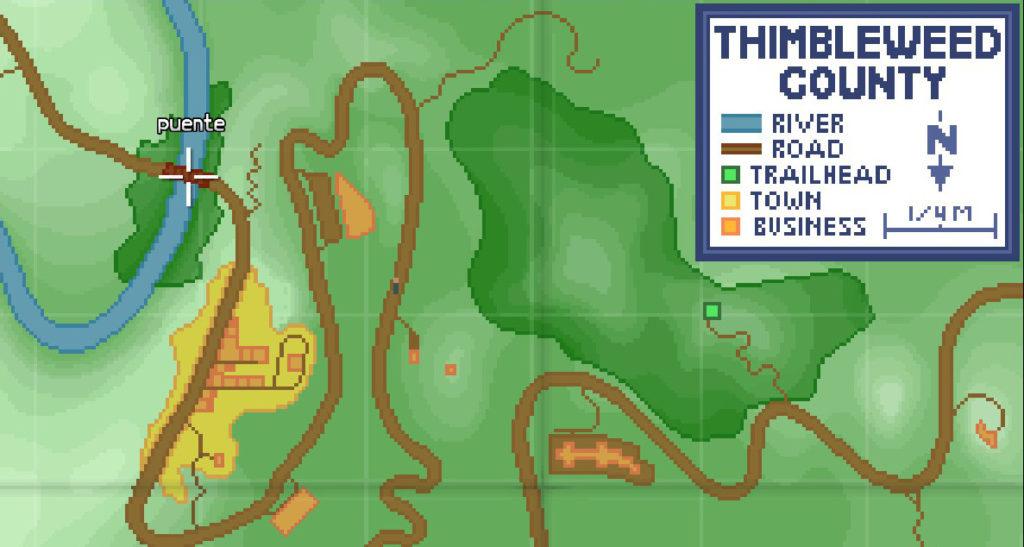 Un mapa del condando de Thimbleweed Park. El cursor está posado sobre una zona y se puede leer: puente.
