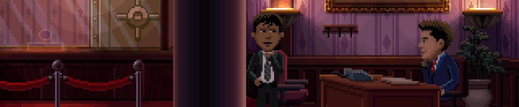 El agente Reyes está en el interior de un banco, junto a la mesa de un empleado.