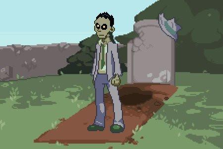 Un zombi investigador privado está de pie de traje al lado de una tumba abierta