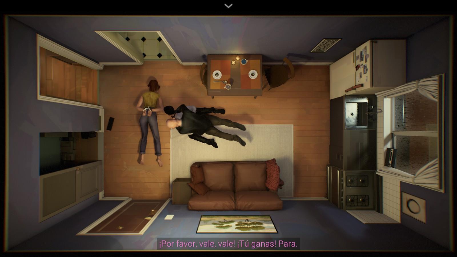 Un hombre y una mujer están esposados en el suelo de un apartamento y un policía está subido sobre el hombre